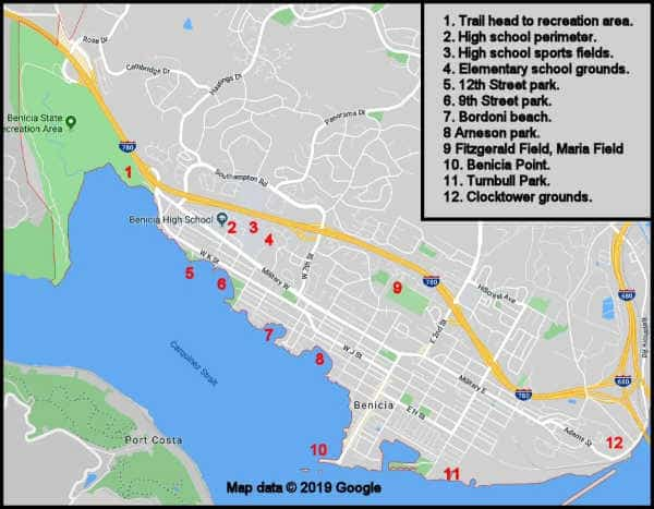 Map to Metal Detecting Spots in Benicia, CA