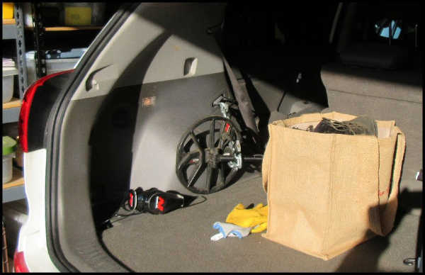 Metal Detecting Gear Packed in Trunk